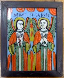 Icoana pe sticla , Sf. Mihail si Gavril , sfarsit sec XIX