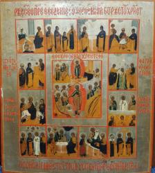 Icoana Praznicar Invierea Domnului si 12 scene Rusia, cca. 1800