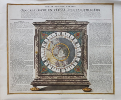 IOHANN BAPTISTAE HOMANNS - Ceas astronomic, Inventie noua. Gravura circa 1720