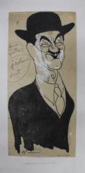 IULIU MANIU - CARICATURA PENTRU ZIARUL 'NATIONALUL '  de  B'ARG ( ION BARBULESCU 1887 - 1969 ) , DATATA 14 MAI 1936 , SEMNATA STANGA JOS *
