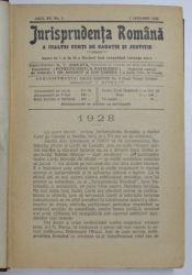 JURISPRUDENTA ROMANA A INALTEI CURTI DE CASATIE SI JUSTITIE , REVISTA , ANUL XV , COLEGAT DE 20 DE NUMERE SUCCESIVE ,  APARUTE INTRE  1 IANUARIE - 15 DECEMBRIE 1928