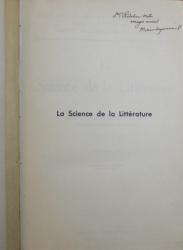 LA SCIENCE DE LA LITTERATURE par MICHEL DRAGOMIRESCOU , VOLUME IV , 1938 , DEDICATIE*