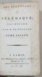 LES AVENTRES E TELEMAQUE FILS 'ILYSSE par M. DE FENELON, TOME 2 - PARIS, 1796