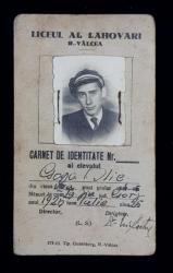 LICEU AL. LAHOVARI , RAMNICU -  VALCEA , CARNET DE IDENTITATE AL ELEVUUI GOGA I.ILIE , ANUL SCOLAR 1944 - 1945