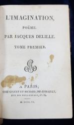 L'IMAGINATION, POEME par JACQUES DELILLE - PARIS, 1806