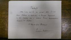 LIVIU REBREANU, CHITANTA DE MANA, 15 APRILIE 1927 BUCURESTI