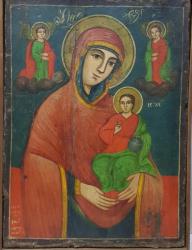 Maica Domnului cu Pruncul, Icoana Romaneasca, Datata '1845  Martie 25' si semnata 'Stan Elina Pictor
