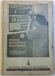 MANUALUL INSTALATORULUI ELECTRICIAN de W. BLATZHEIM , prezinta halouri de apa