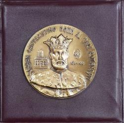MEDALIE  ' SERBAN CANTACUZINO DOMN AL TARII ROMANESTI 1678 - 1688 ' , LUCRATA DE GHEORGHE ADOC , MATERIAL - BRONZ , LANSATA 1994