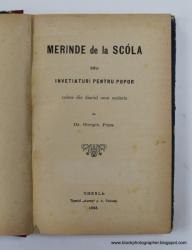 MERINDE DE LA SCOLA SAU INVATATURI PENTRU POPOR de GIORGIU POPA - GHERLA, 1888
