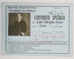 MINISTERUL APARARII NATIONALE, LEGITIMATIE SPECIALA.