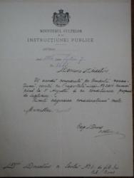 SPIRU  HARET   semnatura olografa  pe document  emis  de Ministerul Cultelor, 7 Iulie 1886