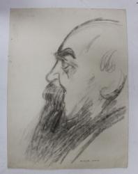 NICOLAE IORGA - DESEN de B'ARG  ( ION BARBULESCU 1887 - 1969 ) , PERIOADA INTERBELICA