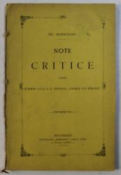 NOTE CRITICE ASUPRA SCRIERII D - LUI A.D. XENOPOL