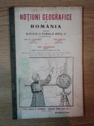 NOTIUNI GEOGRAFICE SI ROMANIA PENTRU DIVIZIA II RURALA ANUL II de  GH. N. COSTESCU, ION GHIATA SI ION CIORANESCU, BUC. 1914-1915