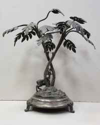 Obiect decorativ tematica vanatoare Metal argintat