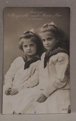 PRINTESELE MARGARETHE SI MARIA ALICE VON SACHSEN , CARTE POSTALA ILUSTRATA , MONOCROMA, CIRCULATA , DATATA 1910
