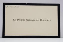 PRINTUL CYRIL AL BULGARIEI ( 1895 - 1945 ) , CARTE DE VIZITA CU CHENAR NEGRU ' LE PRINCE CYRILLE DE BULGARIE '
