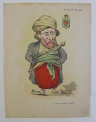 PRINTUL GR. M . STURDZA , ' A FOST , CE POTE FI ACUM ? ' , CARICATURA , LITOGRAFIE de pictorul NICOLAE PETRESCU - GAINA 1871 - 1931 , 1898