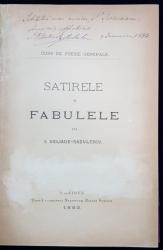 SATIRELE SI FABULELE LUI I. HELIADE RADULESCU de I. I. HELIADE RADULESCU - CRAIOVA, 1883 DEDICATIE*