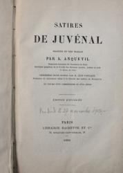 SATIRES DE JUVENAL , traduites en vers francais par A . ANQUETIL , 1880