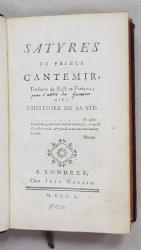 SATYRES DU PRINCE CANTEMIR AVEC L ' HISTOIRE DE SA VIE , 1750, COLEGAT *