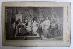 SCENA BIBLICA CU APOSTOLUL PAVEL , FOTOGRAFIE TIP CABINET , EXECUTATA IN ATELIERUL L. A . DEGEN , CONSTANTA