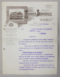 SCRISOARE EXPEDIATA DE FIRMA MARNIER  - LAPOSTOLLE CATRE SOCIETATEA ROMANA DE PIVNITE SI DISTILERII , DATATA 30 SEPT .  1921