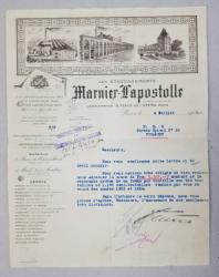 SCRISOARE ( FACTURA )  EXPEDIATA DE FIRMA MARNIER  - LAPOSTOLLE CATRE SOCIETATEA ROMANA DE PIVNITE  SI DISTILERII , DATATA 4 IULIE 1925