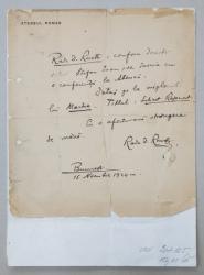 SCRISOARE OLOGRAFA , SCRISA SI SEMNATA DE RADU D. ROSETTI , DATATA 15 NOIEMBRIE 1924