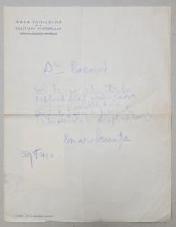 SCRISOARE OLOGRAFA SEMNATA DE EMANOIL BUCUTA , DESTINATA PICTORULUI ALEXANDRU BASSARAB , DATATA 29 FEBRUARIE 1940