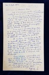 SCRISOARE SCRISA SI SEMNATA OLOGRAF PE SPATELE UNEI CARTI POSTALE de TUDOR ARGHEZI , DATATA 16 SEPTEMBRIE , 1954