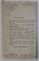 SCRISOARE SIN 25 SEPTEMBRIE 1914 ADRESATA UNUI MEBRU AL CLUBULUI CALARETILOR BUCURESTI , INSOTITA DE PROGRAMUL VANATORILOR CALARI  TOAMNA 1914