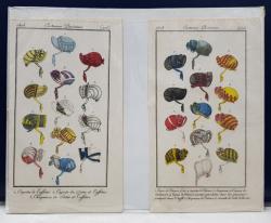 SET DE DOUA GRAVURI COLORATE MANUAL , REPREZENTAND DIFERITE MODELE DE PALARII DE DAMA , DATATA 1808