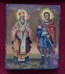 Sf. Vasile si Sf. Mucenic Hristofor, Icoana Romaneasca pe lemn, Sec. XIX