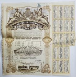 SOCIETATEA COMUNALA A TRAMVAIELOR DIN BUCURESTI , CERTIFICAT NOMINATIV DE ZECE ACTIUNI , EMIS 1939