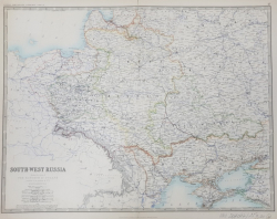 SOUTH - WEST RUSSIA - SHOWING THE EXTENT OF THE KINGDOM OF POLAND PREVIOUS TO ITS PARTITION IN 1722 by KEITH JOHNSTON  ,  SCARA 1 / 3.456.000 , MIJLOCUL SECOLULUI XIX