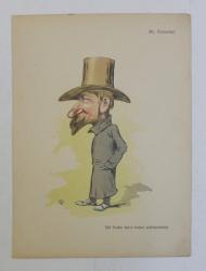 ST . CIOCARLAN , ' D - l FACHE INTR' O  FORMA ARCHITECTONICA ' , CARICATURA , LITOGRAFIE de pictorul NICOLAE PETRESCU - GAINA 1871 - 1931 , 1898