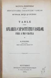 TABLE PENTRU AFLAREA CAPACITATEI VASELOR FARA A MAI CALCULA de B . PISONE , 1876 , CONTINE O SCRISOARE OLOGRAFA SI SEMNATURA OLOGRAFA A AUTORULUI *