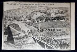 TG.  OCNA - Convoiul detinutilor trecand podul la Valcica - Carte Postala