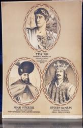 TRAIAN , STEFAN CEL MARE , MIHAI VITEAZUL - LITOGRAFIE ORIGINALA , INTERBELICA , PE CARTON