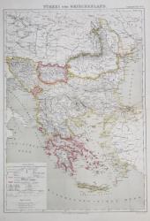 TURCIA SI GRECIA , HARTA ADMINISTRATIVA , GRAVURA COLOR , SCARA 1/ 4.000.000 , DENUMIRILE IN LIMBA GERMANA , MIJLOCUL SEC. XIX
