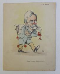 V. A. URECHE , ' COMIS - VOYAGEUR AL NATIONALISMULUI ' , CARICATURA , LITOGRAFIE de pictorul NICOLAE PETRESCU - GAINA 1871 - 1931 , 1898