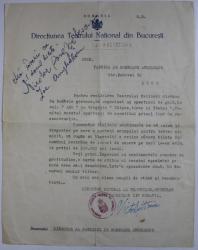 VICTOR EFTIMIU - SCRISOARE ADRESATA LUI N. ANGELESCU , DIRECTOR AL FABRICII DE BOMBOANE , 17 OCTOMBRIE 1944