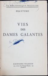 VIES DES DAMES GALANTES par BRANTOME - PARIS
