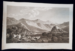 VUE DE QUELQUES SARCOPHAGES , AUTELS ET INSCRIPTIONS SUR LES BORDS DEL-ZADRO - GRAVURA ORIGINALA, 1802