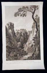 VUE DU CHATEAU DE NOVOSCOLLIO , ENVIRONS DE TRIESTE - GRAVURA ORIGINALA , 1802