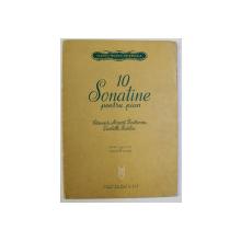 10 SONATINE PENTRU PIAN , CLEMENTI , MOZART , BEETHOVEN , DIABELLI , KUHLAU , editie ingrijita de THEODOR BALAN , 1965