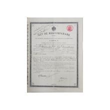 ACT DE RASCUMPARARE IN NUMELE MAIESTATII SALE REGELUI ROMANIEI CAROL I , ELIBERAT PE NUMELE TITU DUMITRESCU DIN PITESTI , LA 16 IUNE , 1912