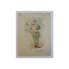 AL. MACEDONSKI , ' CARICATURA ' , LITOGRAFIE de pictorul NICOLAE PETRESCU - GAINA 1871 - 1931 , 1898